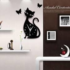 Butterfly 3d Wall Art by Wall Clock Modern Design Mirror Cute Cat Butterfly Creative Wall