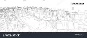 cityscape sketch vector sketch urban architecture stock vector