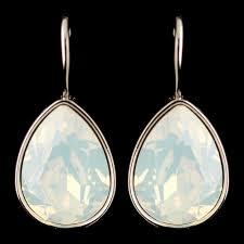 white opal crystal silver white opal swarovski crystal element teardrop leverback