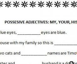possessive adjective worksheet worksheets
