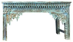 Antique Sofa Tables by Consigned Antique Indian Hand Carved Blue Console Hall Table End