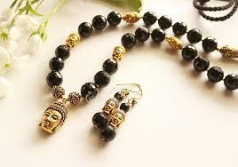 handmade necklace designs images Black onyx buddha gemstone designer handmade necklace earring set jpg