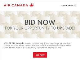 bid air how to bid for upgrade on air canada air canada bid upgrade
