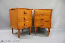 Mid Century Furniture Mid Century Teak Square Handle Bedside Drawers Tables Vintage