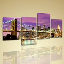 Oversized Wall Art by Canvas Prints Cityscape New York Night Brooklyn Bridge Framed Wall Art