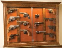 Oak Wall Mounted Display Cabinet The Woodloft Illinois Amish Custom Crafted Pistol Display