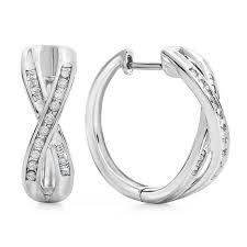 earring diamond 1 2 carat diamond criss cross hoop earrings in sterling silver