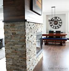 stone fireplace wood stain shiplap benjamin moore gray owl in
