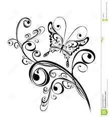 butterfly and floral ornament element for design stock vector