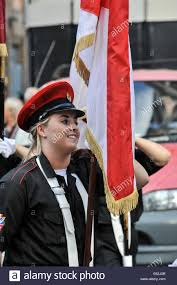 Red Flag Band A Female Member Of The East Bank Protestant Boys Flute Band