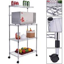 Bakers Rack With Wheels 4 Tiers Metal Microwave Oven Stand Baker Rack With Casters