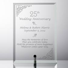 25th anniversary plates personalized personalized silver glass 25th anniversary plate