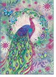 punch studio peacock wreath glittered greeting cards