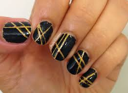 nails context black n gold laser tape manicure