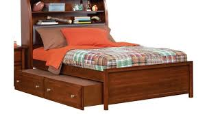 Full Bed With Trundle Cruz Cherry 4 Pc Full Bookcase Bed W Trundle