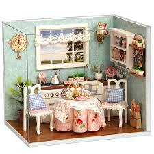 cuteroom dollhouse miniature dining room diy kit with cover and