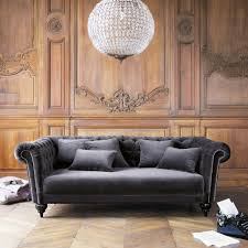 canapé du monde canapé 3 places en velours gris fixe maison du monde et velours