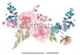 Wedding Flowers Drawing Colorful Floral Collection Leaves England Rose Stock Illustration