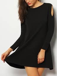 black off the shoulder long sleeve casual dress shein sheinside
