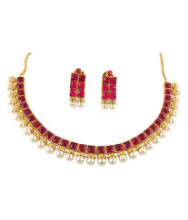 necklace with pink stone images Ratnaraj jewellery traditional antique designer pearl pink stone jpg