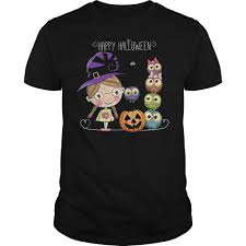happy halloween little witch owls shirt