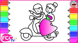 how to draw groom and bride on vespa happy wedding coloring page