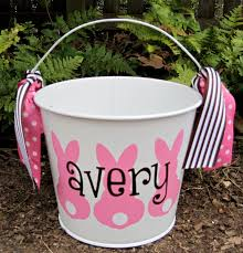 monogrammed easter buckets personalized easter assorted colors 5 qt 22 00 via etsy