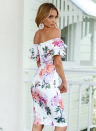 women u0027s fashion floral off shoulder ruffle short sleeve bodycon