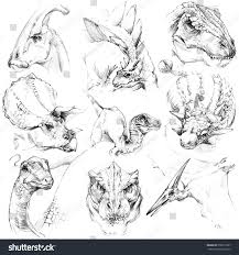 dinosaur sketch set outline jurassic period stock illustration