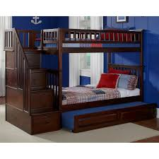American Woodcrafters Loft Bed Atlantic Furniture Columbia Staircase Twin Over Twin Bunk Bed