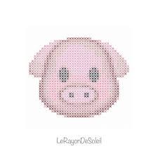 the ghost emoji is perfect gq modern cross stitch pattern pink pig animal puppy emoji