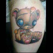 funny teddy bear leg tattoo design photo 3 2017 real photo