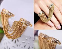 beautiful fingers rings images Fashion punk style tassel rhinestone two fingers rings in rings jpg