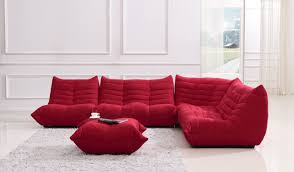 Modern Fabric Sectional Sofa Bloom Red Fabric Sectional Sofa