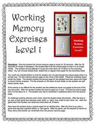 working memory exercises by yourtherapysource teachers pay teachers
