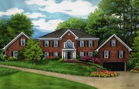 watercolor portrait of large red brick home in atlanta created by