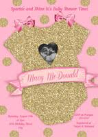 pink and gold baby shower invitations pink gold glitter onesie girl baby shower invitations baby