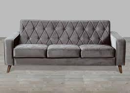 petite grey velvet sofa button tufted