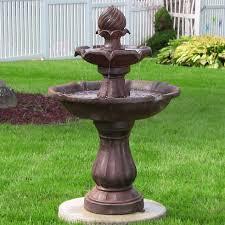 outdoor 2 tier solar water fountain for garden yard decor water