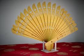 folding fan 3d printed folding fan in gold filament 3d model
