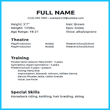 Example Of Special Skills In Resume by Theatre Acting Sample Resume 12 Talent Resume Format Child Actor