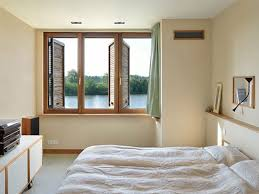bedroom simple beautiful calm wall painting and brown windows