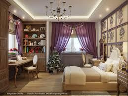 bedroom design chandelier purple wallpaper bedlinen rug carpet