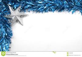 White Christmas Tree With Blue Decorations Blue Tinsel And Star Christmas Decorations Stock Photo Image