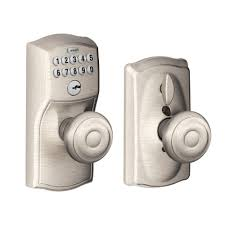 Interior Door Knobs Home Depot Schlage Camelot Satin Nickel Keypad Entry With Flex Lock And