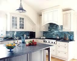 Another Kitch Idea White With Colored Backsplash Cottage Decor - Blue backsplash