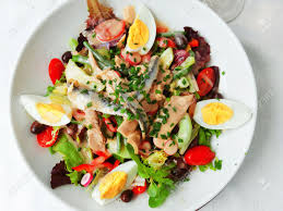 restaurant cuisine nicoise nicoise salad served in a restaurant in cannes stock photo