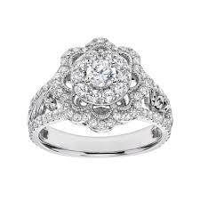 flower engagement rings vera vera wang diamond flower engagement ring in 14k white gold 1