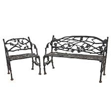 Wrought Iron Benches For Sale Set Of Naturalistic Cast Iron Garden Furniture Late 19th Century