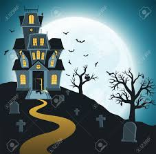 dark halloween background illustration of dark halloween night with scary haunted castle stock